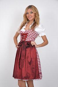 Abito Rosso 341gt Folcloristico Tirolese Plaid Vestito Set Festivo 3tlg qRwFgWpf