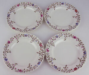 Set-4-x-Bread-Side-Plates-Copeland-Spode-Wicker-Dale-vintage-earthenware-England