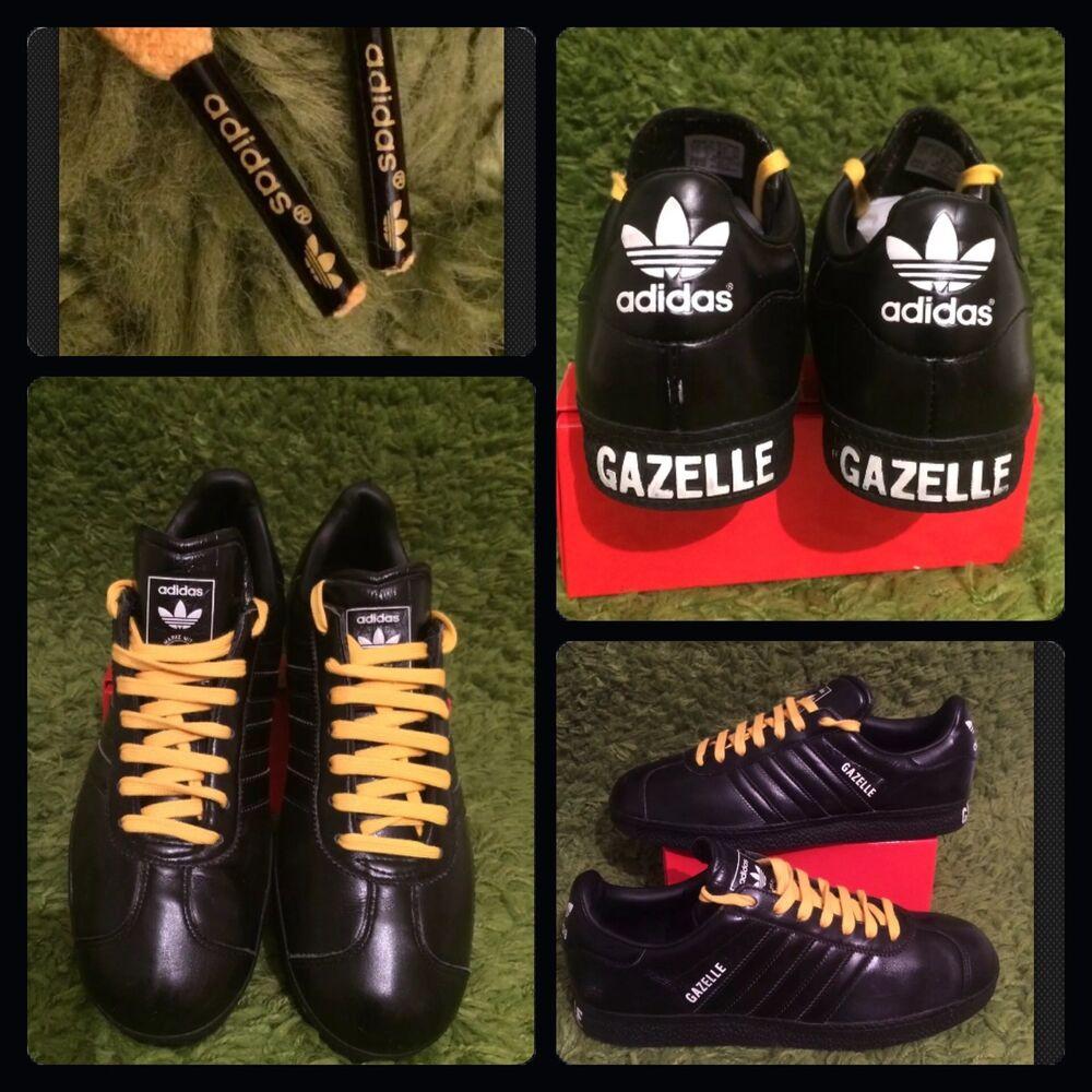 RARE Adidas Originals Gazelle: Hommes en Cuir Noir Baskets: UK 7: très bon état-