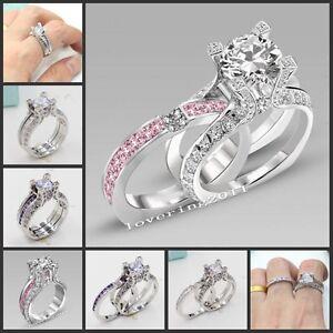 Image Is Loading Vintage Jewelry Multi Gemstones White Gold Filled Wedding