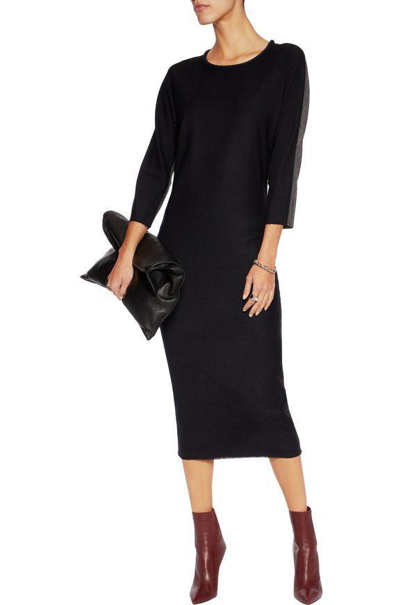 Isabel Marant Deena verkleidet Wolle-Mischung Crepe und Trikot Trikot Trikot Midi Kleid F38 UK 10 1a8