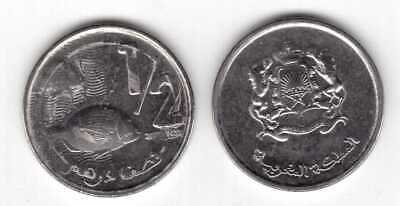 NEW ISSUE 1//2 DIRHAM UNC COIN 2011 YEAR FISH MOROCCO