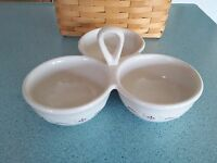 Longaberger Pottery 3 Part Server Traditional Red Woven Traditions In Box