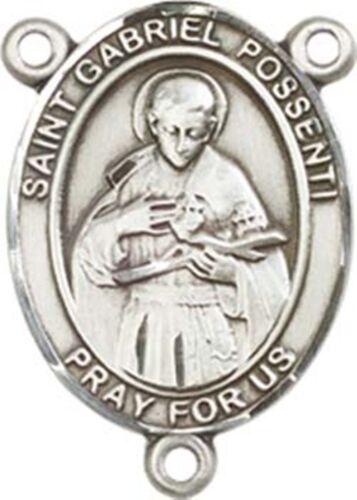 3//4 Pouces Sterling Silver Saint Gabriel châteaux Rosaire Centerpiece médaille