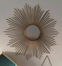 Rare joli miroir en métal doré forme soleil   vintage style des années 50 60