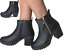 Woman-039-s-Chunky-UK-Grip-Sole-Block-High-Heel-Black-Ankle-Zips-Chelsea-Shoes-Boots thumbnail 2