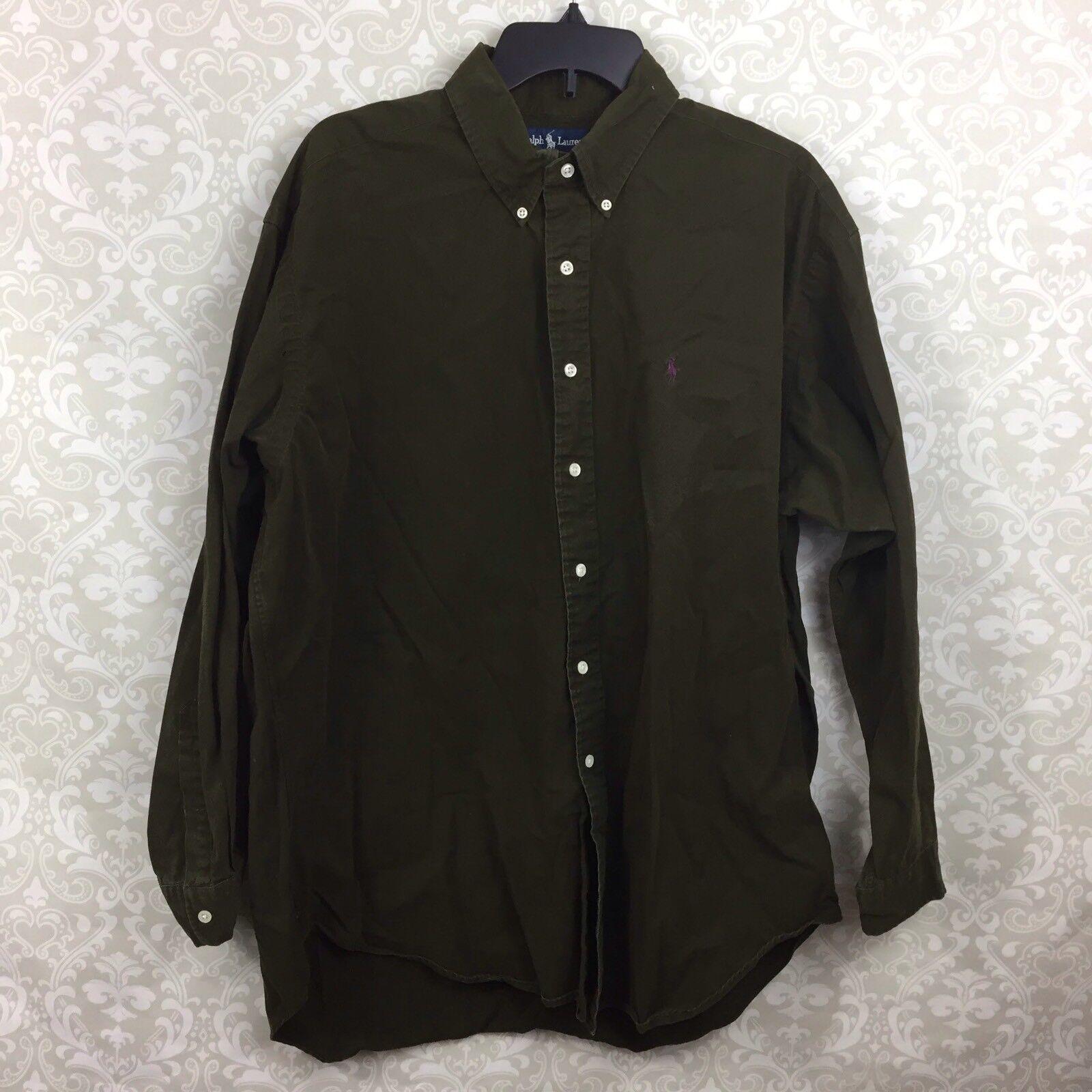 68c42d582 Ralph Lauren XL Mens Blake Button Down Shirt Green Forest noxwwb1800-Casual  Button-Down Shirts