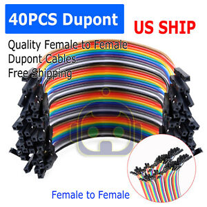 1X-40PCS-Dupont-Wire-Jumper-Cable-10cm-2-54MM-Female-to-Female-1P-1P-For-Arduino