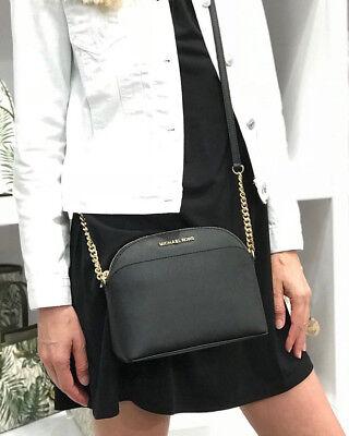 Michael Kors Jet Set Travel MEDIO a Cupola Crossbody Saffiano Leather Bag Black | eBay