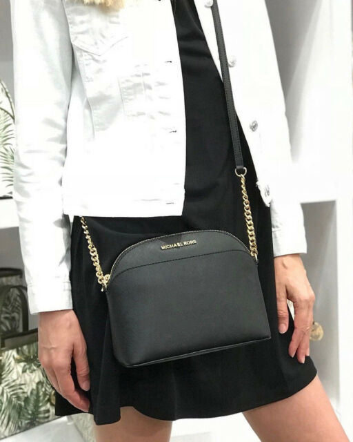 c4596f967f8b42 Michael Kors Jet Set Travel Medium Dome Crossbody Saffiano Leather Bag Black  for sale online | eBay