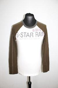 G-STAR-RAW-Herren-T-Shirt-langarm-Groesse-L-weiss-braun-N1-29