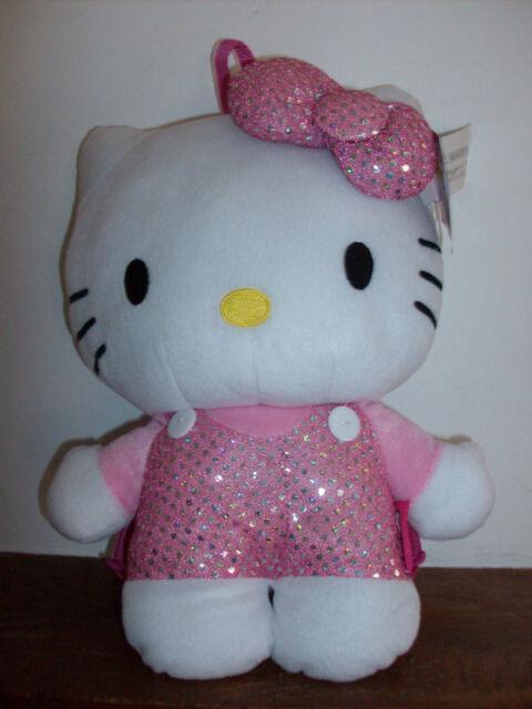 """Sanrio Hello Kitty Girl Pink Sparkle White Plush Backpack Bow 15"""" X 9"""" NWT"""