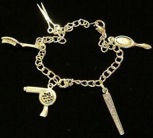 Image Is Loading Hair Stylist Charm Bracelet 7 Inch Sterling Silver