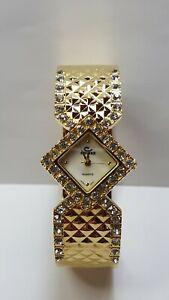 Vintage Cenere Rhinestones Goldtone Square Watch Face Bracelet Clamper Bangle