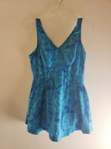 Maxine-of-Hollywood-Women-039-s-One-Piece-Blue-Green-Floral-Size-20W-Bathing-Suit