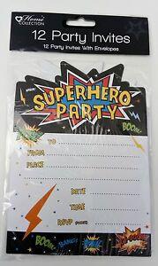 Detalles De 12pk Tarjetas De Invitaciones Super Héroe Fiesta Invitación Cumpleaños Niña Niño Niños Sobre 12 Ver Título Original