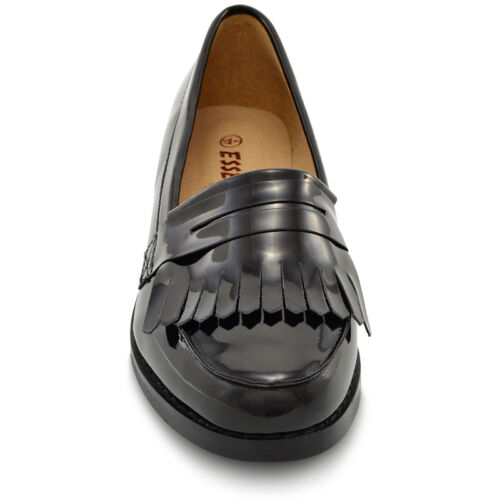 Womens Flat Casual Office Patent Faux Leather Fringe School Ladies Loafers Shoes