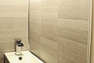 light grey modern tile effect bathroom panels shower wall
