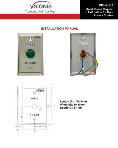 Visionis VIS-7003 Small Green Request to Exit Button For Door Access Control