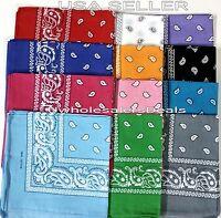 12 (1 Dozen) Paisley Print Bandana Scarf Head Wrap 100% Cotton U Pick Color NEW