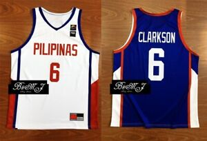 quality design 3e59d e919e Details about Jordan Clarkson Philippines Lakers Cavs FIBA Olympic Home  White or Blue jersey