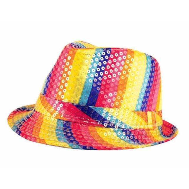 Gay Pride Sequin Trilby Gangster Hat Rainbow Festival LGBT Fancy Dress 4bd9945f7790