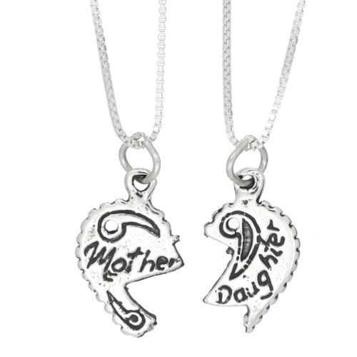 STERLING SILVER MOTHER DAUGHTER SPLIT CHARM WITH 2 BOX CHAIN NECKLACES