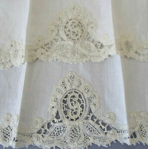 Vintage 4Pc Set Linen GUEST Towels Handmade Italian Burano Needle LACE Initial G