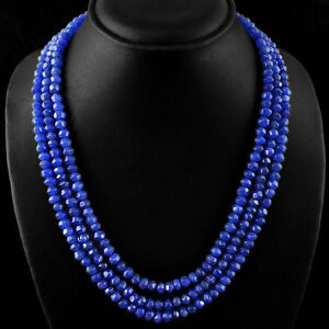 AWESOME-BEST-377-15-CTS-EARTH-MINED-3-LINE-BLUE-SAPPHIRE-FACETED-BEADS-NECKLACE