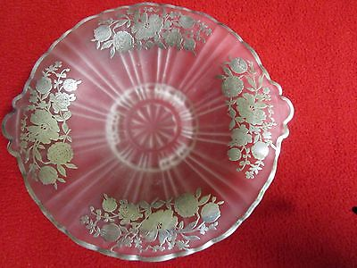 ANTIQUE, VINTAGE, RETRO SILVER-PLATED FROSTED DEPRESSION GLASS PLATE