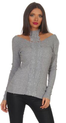 10688 Damen Feinstrick Pullover Neckholder Langarm Damenpullover Rückenfrei