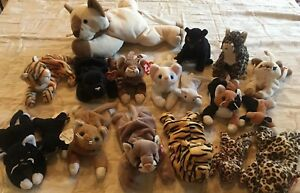 18 Cats TY Beanie babies SNIP CANYON Meow ZIP POUNCE CHIP FRECKLES VELVET PVC