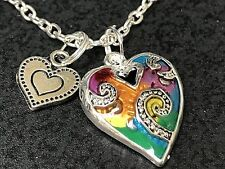"Hearts Rainbow Enamel & Heart Charm Tibetan Silver 18"" Necklace D105"