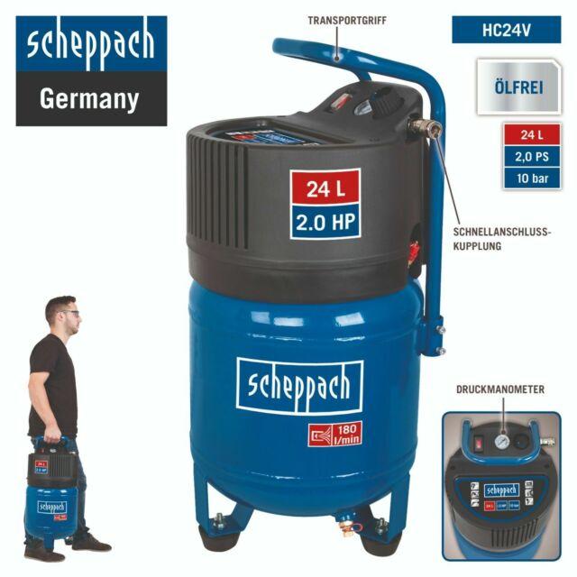 Scheppach Druckluft Kompressor 24L Luftkompressor 10bar 2PS stehend HC24V