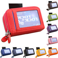 Genuine Leather Security RFID Accordion Wallet Zipper Case Credit Card Holder