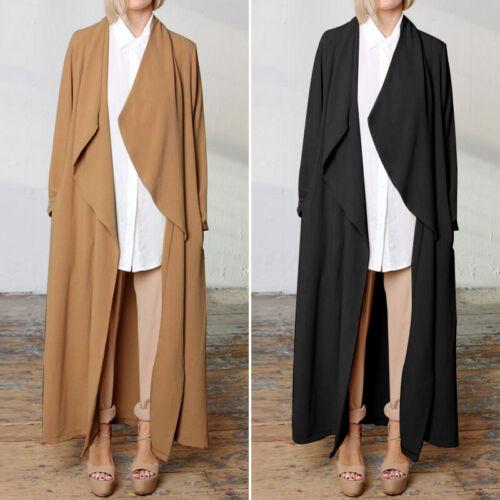 ZANZEA Women Open Front Cardigan Waterfall Casual Long Jacket Coat Tops Shirt US