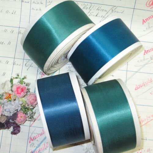 10y SPOOL VTG PEACOCK GREEN SATIN RIBBON TRIM MILLINERY HAT WORK COCARDE ANTIQUE
