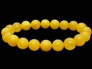Amber-BRACELET-Natural-Baltic-Amber-Egg-Yolk-Yellow-Round-Beads-Ladies-8-5g-A29