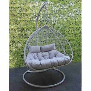 Grey Double Rattan Hanging Egg Chair, Hanging Egg Chair Outdoor Uk