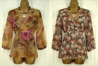 NEW M&S LADIES BROWN PINK FLORAL BLOUSE &  CAMI TWINSET SUMMER TOP SIZE 8 - 14