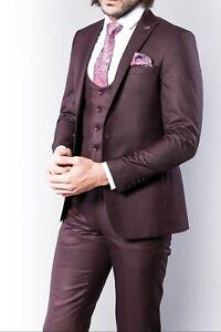 pour Parfait Fit hommes pour les hommes 3 pièces Wss Costume occasions toutes Bordeaux pour Antonio Slim 5xwPTqnfX
