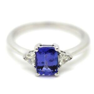 18k-Oro-Blanco-1-65-CT-Tanzanita-y-Trilliant-Forma-Cojin-Diamante-Anillo-Trilogia