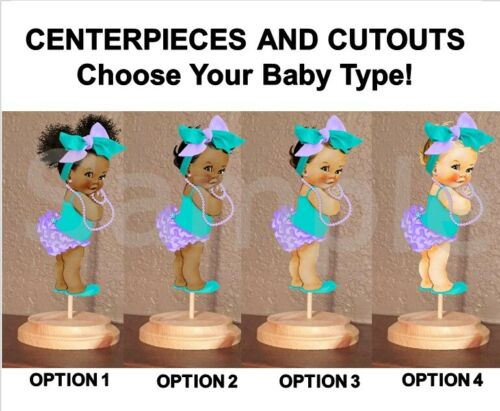 Pre Cut Lavender Turquoise Baby Girl Headbow Centerpiece with Stand OR Cutouts