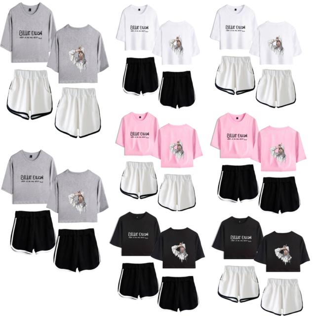 Billie Eilish Rapper Women T Shirts Shorts Casual Sportwear Trainingsanzug Tops Ebay