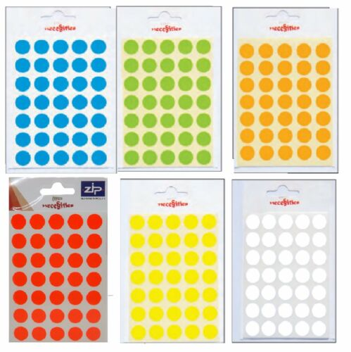 140 Sticky Coloured Labels 13mm Diameter Large Dot School Craft 4 Sticker Sheets
