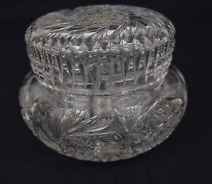 Vintage-Clear-Cut-Crystal-Covered-Glass-Jar-Powder-Vanity-Trinket-Jewelry