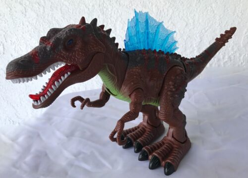 Real Movement-Brown-NEW Sounds Walking SPINOSAURUS Toy Figure With Lights