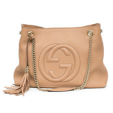 8d9bdc0444d40d Gucci Camelia Camel Pebbled Leather Soho Shoulder Handbag Tassel Bag Italy  New