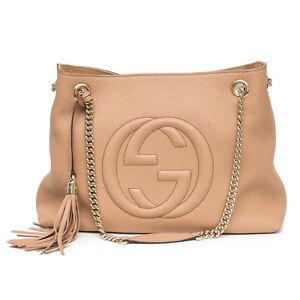 55d32630d36e44 Image is loading Gucci-Camelia-Camel-Pebbled-Leather-Soho-Shoulder-Handbag-