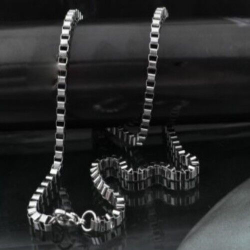 5pcs Lot In bulk Silver Stainless Steel Box Link chain necklace Thin 2mm 21.6/'/'